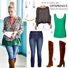 Want the lowdown on where to find the clothes that Nina Proudman wears in Offspring? We've got you covered plus have tips on how to get her look for less. Leotard Fashion, Skirt Fashion, Boho Fashion, Fashion Beauty, Womens Fashion, Fall Fashion, High Fashion, Boho Ootd, Boho Chic