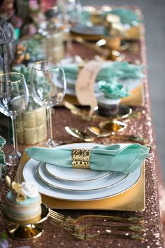 Place Settings teal and gold accents.would be nice to do with white linens instead of the shimmery table linens featured here. parties and entertaining decor. Wedding Mint Green, Aqua Wedding, White Wedding Flowers, Trendy Wedding, Wedding Colors, Mint Gold Weddings, Lace Wedding, Spring Weddings, Wedding Trends