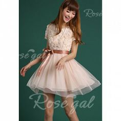 Sweet Solid Color Stereo Rose Embellished Voile Women's Dress