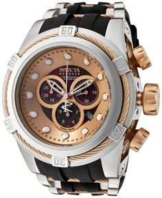 Invicta Men's Swiss Chronograph Reserve Bolt Rose Gold-Tone Cable and Black Silicone Strap Watch 53mm 0829