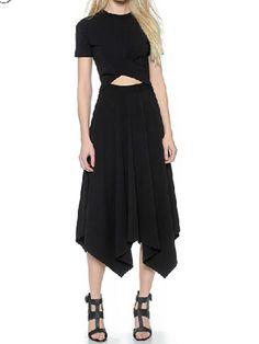 Black Open Belly Short Sleeve Asymmetric Midi Dress