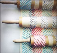 rolling pin geometric stamps- try craft foam and then more absorbent foam glued onto the rolling pin or a cardboard tube and string and pieces of burlap or textured trim like lace and braid. Diy And Crafts, Crafts For Kids, Arts And Crafts, Paper Crafts, Diy Projects To Try, Craft Projects, Craft Tutorials, Project Ideas, Wood Projects