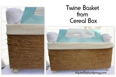 DIY Baskets From a Cereal Box - Cute, easy and NO sewing involved for the fabric liner!!!