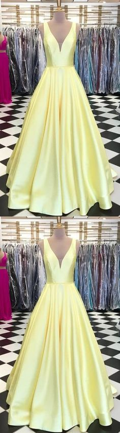 Sexy v-neck floor length satin ball gowns yellow prom dress for formal occasion P2625