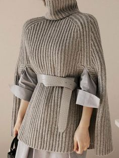 New Arrival CWLSP Turtleneck Sweater Women Pullovers Autumn Female Coat Oversize Batwing Sleeve Striped Knitted Poncho Outerwear Loose Sweater, Poncho Sweater, Knitted Poncho, Pullover Sweaters, Half Sleeves, Types Of Sleeves, Casual Sweaters, Sweaters For Women, Mode Hijab
