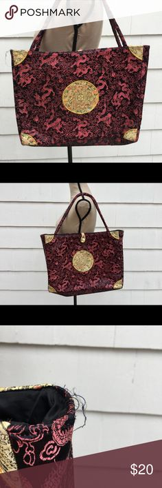 """Silk Oriental Asian Floral Dragon Tote Bag Black Silk Oriental Asian Chinese Floral Brocade Dragon Tote Bag Shoulder Purse Large & roomy tote in a unique silky material. Asian inspired with lots of tiny details.  MEASUREMENTS  WIDTH 16"""" HEIGHT 12"""" STRAP DROP 9"""" DEPTH 3.5"""" Great condition with some loose threads as pictured. Interior is immaculately clean. Bags Totes"""