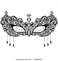 Beautiful lace masquerade mask isolated on white background. Vector illustration - stock vector