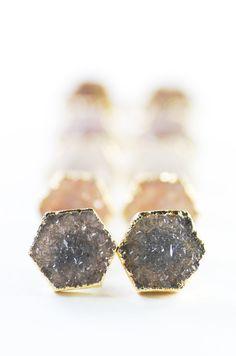 Pa earrings - small gold druzy hexagon stud earrings, www.kealohajewelry.etsy.com maui, hawaii