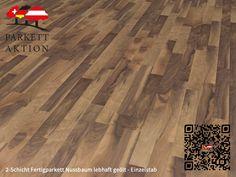 2-Schicht Fertigparkett Nussbaum lebhaft geölt - Einzelstab Format: 490 x 70 x 11 mm Hardwood Floors, Flooring, Texture, Crafts, Tree Structure, Wood Floor Tiles, Surface Finish, Wood Flooring, Manualidades