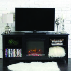 Unbelievable fireplace tv stand lowes exclusive on homeeideas.com Tv Stand With Fireplace Insert, Electric Fireplace Tv Stand, Fireplace Inserts, Basement Fireplace, Electric Fireplaces, Farmhouse Fireplace, Wood Fireplace, Fireplace Ideas, Rustic Farmhouse