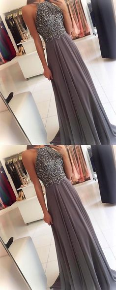 silver gray prom dress,halter prom dress,long prom gowns,beaded evening dress,open back dresses,chiffon evening gowns, M1564