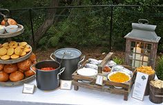 Outdoor Chili Party - Main Food Table - includes variety of rolls, chili and a baked potato bar. Great idea for a fall block party or chili cook off event. Nacho Bar, Baked Potato Bar, Baked Potatoes, Chili Party, Fingers Food, Chili Cook Off, Harvest Party, Fall Harvest, Slow Cooker Chili