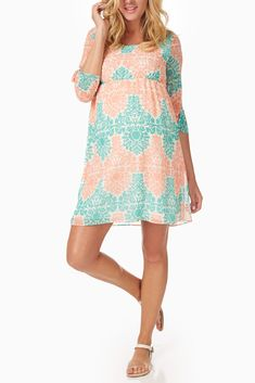 Mint-Green-Peach-Printed-Chiffon-Maternity-Dress #maternity #fashion