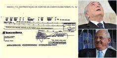 Um cheque de R$ 1 milhão comprova a materialidade do recebimento de propina pelo ilegítimo Michel Temer (PMDB) da empreiteira Andrade Gutierrez, enrolada até o pescoço na Lava Jato. O dinheiro abasteceu o comitê financeiro do então candidato a vice-presidente na eleição de 2014.    O cheque nominal da Andrade Gutierrez no valor de R$ 1 milhão depositado na conta da campanha de Temer e extratos bancários comprovam o depósito de R$ 1 mil
