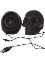 I want this right now. Macabre Music Skull Speaker Set