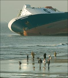 The Riverdance was a ferry in service with Seatruck Ferries on the Irish Sea. On January 2008 she was hit by a wave that caused her cargo to shift and she beached at Blackpool. Attempts to refloat her failed, and she was scrapped on site during Abandoned Ships, Abandoned Places, Ghost Ship, Irish Sea, Water Crafts, Cool Photos, Sailing, Funny Pictures, World