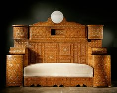 Large Intricately and Extensively Inlaid Syrian Sofa, circa 1880   From a unique collection of antique and modern day beds at https://www.1stdibs.com/furniture/seating/day-beds/