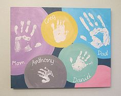 Canvas Crafts, Canvas Art, Family Art Projects, Handprint Art, Baby Art, Diy Wall Decor, Your Paintings, Painting & Drawing, Creations