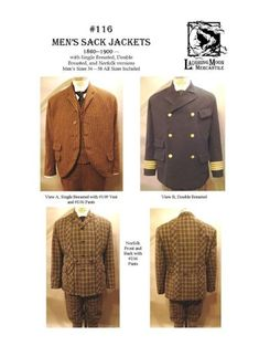 Patterns of Time 1860 to 1900 Men's Sack Jackets Pattern by Laughing Moon Mercantile, Victorian-Edwardian-Titanic