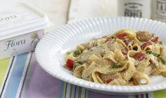 Χορταστικές και νόστιμες Παπαρδέλες με κοτόπουλο και λαχανικά σε σάλτσα λεμονιού…