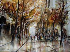 """Aquarelle par Nicolas Jolly """"Les allées de Notre-Dame"""". Watercolor painting. 65x50cm."""