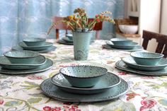 Dinnerware Set for 4 Four  12 Pieces  Aqua Mist  by BackBayPottery, $379.00