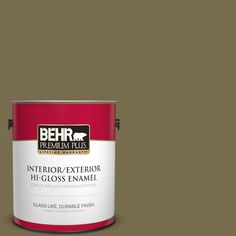 BEHR Premium Plus 1 gal. #PPU8-01 Olive (Green) High-Gloss Enamel Interior/Exterior Paint