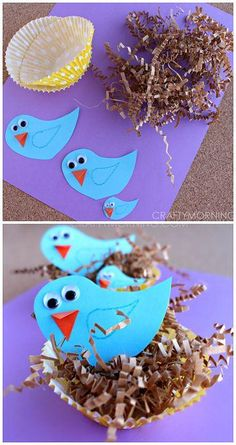 Blue Bird Craft with Cupcake Liner Nests - Crafty Morning - Bird Crafts for Kids Spring Crafts For Kids, Crafts For Kids To Make, Summer Crafts, Art For Kids, Kids Fun, Preschool Crafts, Easter Crafts, Fun Crafts, Arts And Crafts
