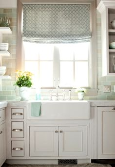 White kitchen with a farmhouse sink and teal backsplash White kitchen with a farmhouse sink and teal backsplash Always wanted to learn to knit, but u. kitchen tools White kitchen with a farmhouse sink and teal backsplash Kitchen Layout, Dream Kitchen, Farmhouse Sink, Kitchen Decor, Kitchen Remodel, Sweet Home, Home Kitchens, Interior, Kitchen Inspirations