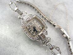 Art Deco Gruen Wrist Watch in Platinum and Diamond by MSJewelers