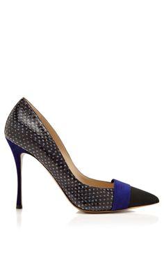 Pointy Toe Grosgrain & Suede Pump by Nicholas Kirkwood Now Available on Moda Operandi