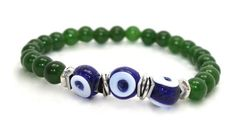 Beautiful Green Jade, Bali Silver Beads and Blue Turkish Evil Eyes Stretch Bracelet | AyaDesigns - Jewelry on ArtFire