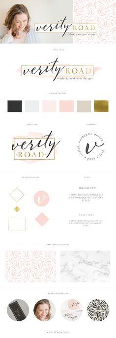 Brand board for verity road, luxury brand styling and web design for female entrepreneurs. Feminine branding, brand style guide, logo, submark,  brand elements, calligraphy, sans serif, black, latte, blush, pink, gold, color palette,  pattern, marble, texture, typography, script font, business owner, blogger. See more for mood board, social media branding, print materials and website design.