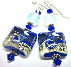 Lampwork Earrings Handmade Lampwork Beads Opalite by SeeMyJewelry, $28.00