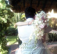 #white and #pink cymbidium #orchids #bridal #bouquet #weddingcancun by #latinasia