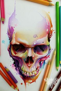 Or just a colorful skull Totenkopf Tattoos, Geniale Tattoos, Art Anime, Skull Tattoos, Moon Tattoos, Art Tattoos, Skull Design, Art Graphique, Skull And Bones