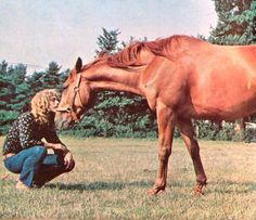 Robert Plant with a horse at his farm in England, 1970.
