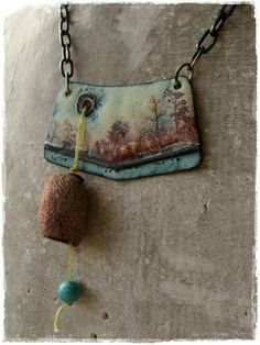 Enamel necklace made with copper and handmade sterling silver chain.