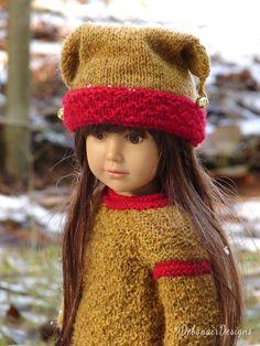 Hand-knit Sweater & Jester Hat for Kidz n Cats dolls Aletta by Debonair Designs
