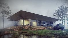 House no. 162. Summer house near Rzeszow.Architecture, modeling, rendering and p-production: Adam Spychała