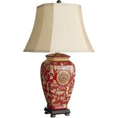 Red Floral Jar Lamp