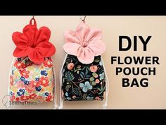 DIY Flower Pouch Bag | Drawstring Bag Tutorial & Free Pattern [sewingtimes] - YouTube Diy Flower Pouches, Flower Bag, Small Sewing Projects, Sewing For Kids, Sewing Crafts, Drawstring Bag Tutorials, Drawstring Pouch, Baby Booties Knitting Pattern, Plushie Patterns