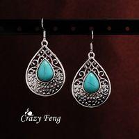 Loco Feng envío gratis Teardrop Retro patrón de plata tibetano de la turquesa pendientes cuelga gota de joyería de regalo para el día de san valentín