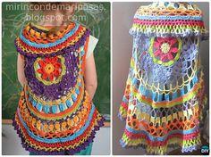 DIY Crochet Circle Shrug Instruction-Crochet Circular Vest Sweater Jacket Free Pattern