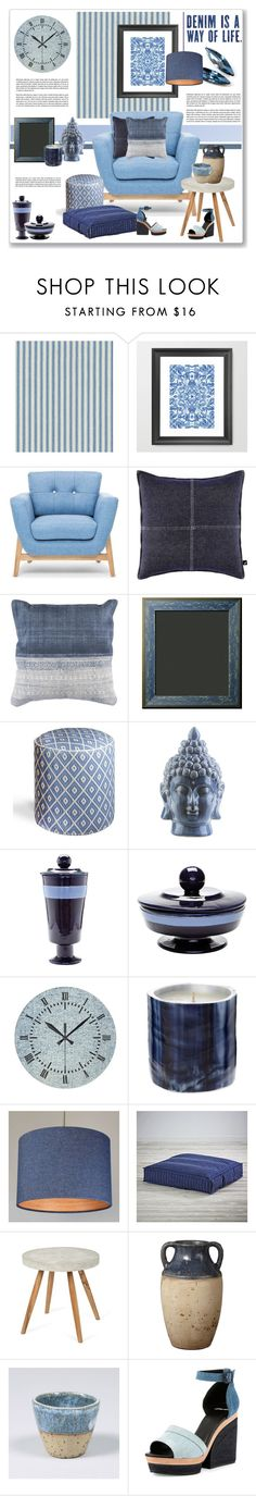 """""""denim accent"""" by nanawidia ❤ liked on Polyvore featuring interior, interiors, interior design, home, home decor, interior decorating, Waverly, Nautica, Surya and Lazy Susan"""