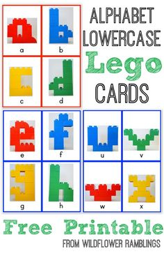 These Alphabet Lego Cards are great for children to learn their lowercase letters -- uppercase lego cards are also available!!
