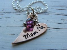 MOM necklace - copper heart - hand stamped - tiny heart - silver plate - Whispering Metalworks