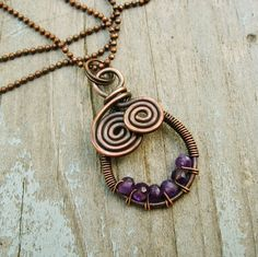 Wire Wrapped Necklace Amethyst Fantasy Geode - purple faceted amethyst stone beads wrapped in antiqued copper