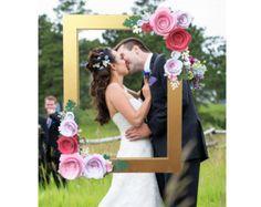 Marco Floral de oro de prop de la cabina de foto con flores 3D
