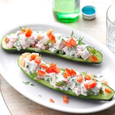 "Chicken Tzatziki Cucumber Boats Recipe -I've tended a garden for decades, and these colorful ""boats"" made from cucumbers hold my fresh tomatoes, peas and dill. It's absolute garden greatness. Cucumber Recipes, Lunch Recipes, Dinner Recipes, Cooking Recipes, Slow Cooking, Summer Recipes, Dinner Ideas, Tzatziki, Healthy Snacks"